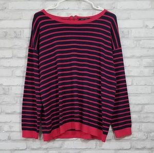 Spense knits red & navy striped sweater size XL